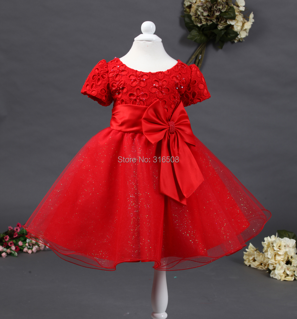 Free Shipping DHL 12pcs Wholesale Girls Baby Kids Children Dresses Party Dress Girl Dress Flower Pattern Bow On Belt Red Color<br><br>Aliexpress