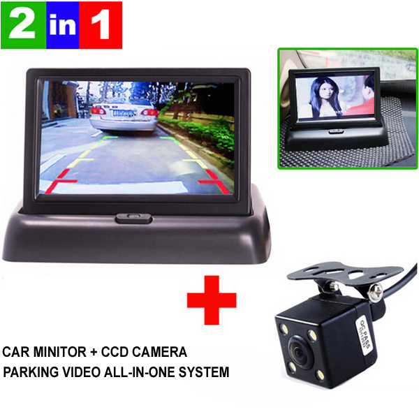 Hot Sale , New LED Night Vision Car CCD Rear View Camera With 4.3 inch Color LCD Car Video Foldable Monitor Camera(China (Mainland))