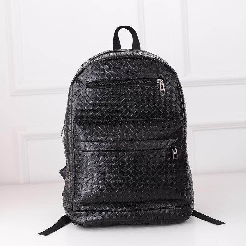 2015 Designer Women Leather Backpacks Black Pressure Grid Weave School bags For Teenagers Female Outdoor Hiking Bagpack Mochila