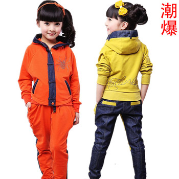 Free shipping 2013  female  harem pants outerwear color block decoration denim casual sports