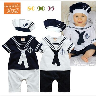 Retail New fashion Summer Newborn navy style baby romper suit kids boys girls rompers+hat body summer short-sleeve sailor suit(China (Mainland))