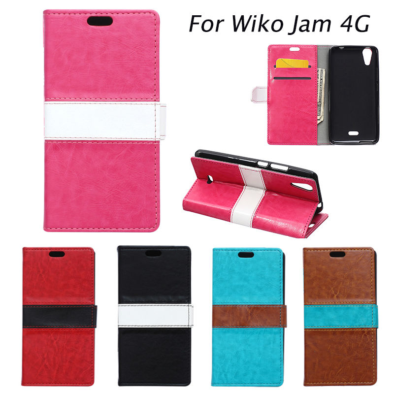 High Quality Mixed Color PU Leather Cover Coque Wiko Rainbow Jam 4G Phone Case Coque WikoRainbowjam4G Fundas With Card Slot(China (Mainland))