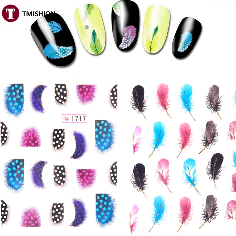 Cheap Sale! Lady Women Leopard Water Transfer Stickers Nail Art Tips Feather Decals Nail Art Tools(China (Mainland))