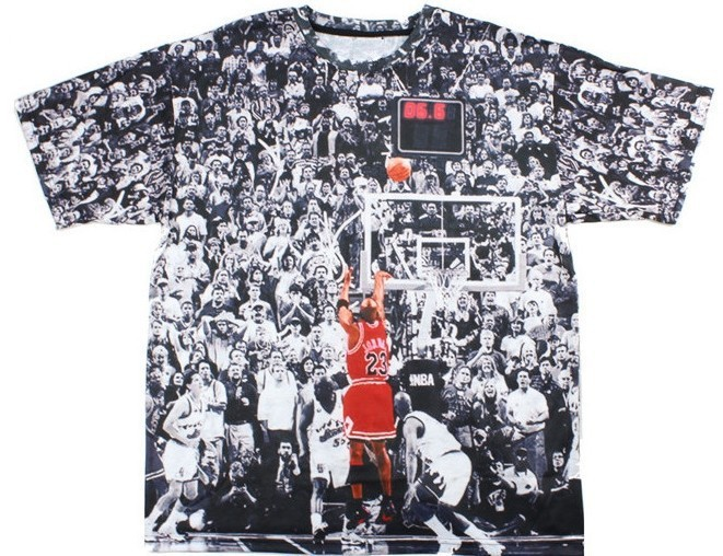 2015 new men's novelty PU leather 3D print Jordan basketball all-star game Fashion street T_shirt and free shipping(China (Mainland))