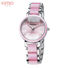 Brand Kimio Women Ladies fashion casual Luxury Bracelet Watches simulated ceramics Stainless Steel Quartz Dress wristwatches