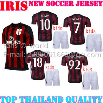 2016 Ac Milan children early red kits black soccer jersey MENEZ HONDA Montolivo El Shaarawy 15 16 children football jersey kits(China (Mainland))