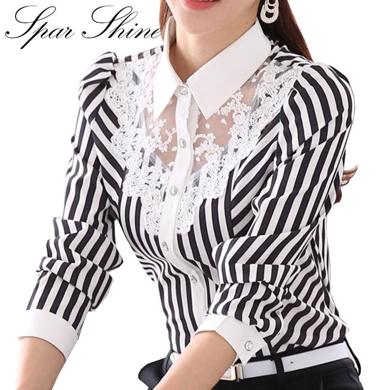New Women Blouse Turn-down Collar Black Stripe White Lace Flower Chiffon Shirt Plus Size Female Single-breasted blusas Female(China (Mainland))