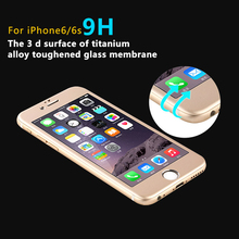"For Iphone6 6s 4.7""Glass Film 3D 9H 0.26MM Screen Protector Tempered Glass Front+Back for iphone6 Titanium alloy steel membrane"