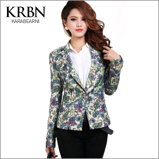 2015 Women Jacket Fashion spring coat Slim Suit Outerwear One Button print Coat 3 Colors Good Quality Women clothing J13A027#(China (Mainland))