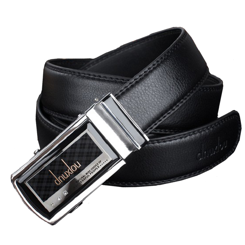 Fashion Leather Mens Belt Black Automatic Steel Buckle Waist Strap Belts Male cinto masculino Leather Waist