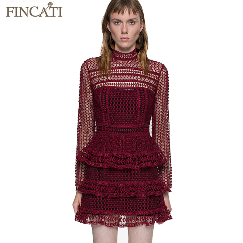High-End Teardrop Guipure Panelled Mini Dress Woman Self Portrait Brand 2016 Autumn New Sexy Slim Lace Hollow Out Vestidos(China (Mainland))