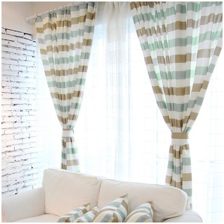 Korean garden coffee green striped fabric bedroom curtains