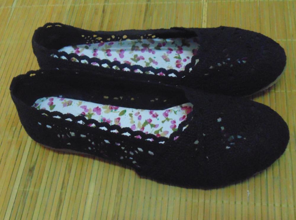 Hot 2015 printemps été femmes crochet chaussures mode chaussures plates tendon à la fin de coton classique noir rétro chaussures taille 35 - 40(China (Mainland))