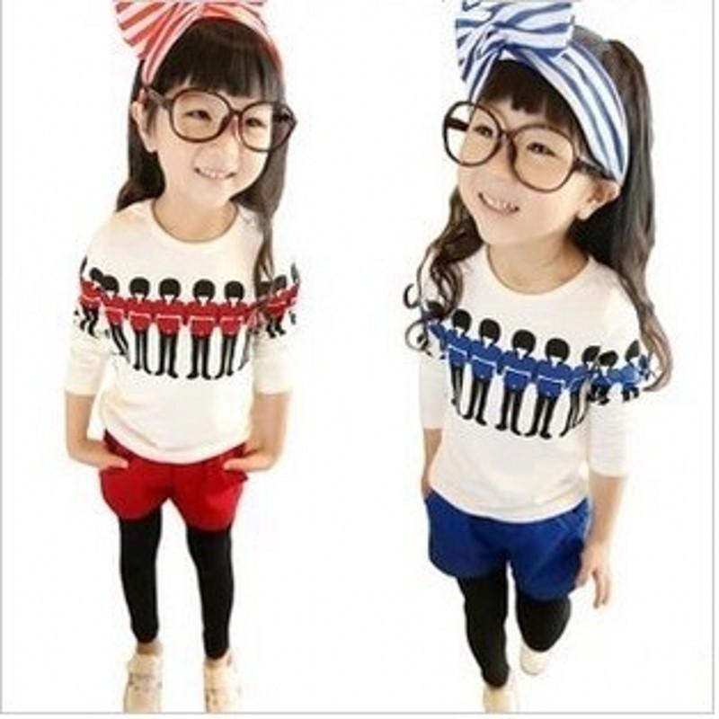 summer dress girls clothesGirls long-sleeved summer shorts suit Guard printing kit 30#429(China (Mainland))