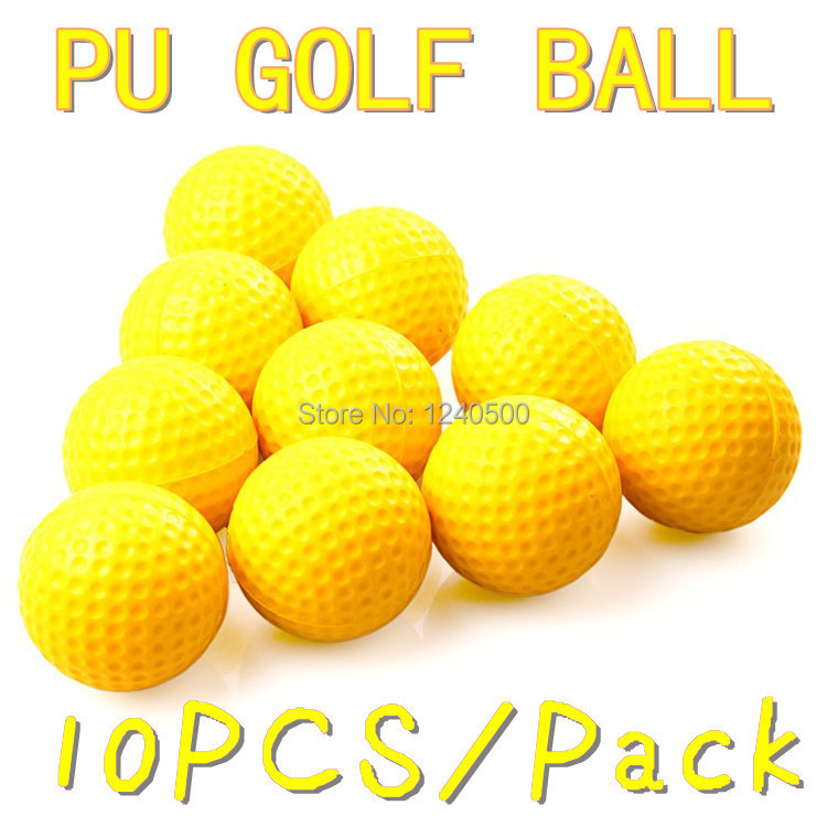 Free Shipping 10pcs/lot Soft Indoor Practice PU Yellow Golf Balls Training Aid Drop Shipping Wholesale(China (Mainland))