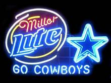 "New GO SOWBOYS Miller Lite 24""X18"" Glass Neon Sign Beer Bar Pub Arts Crsfts Gifts Sign(China (Mainland))"