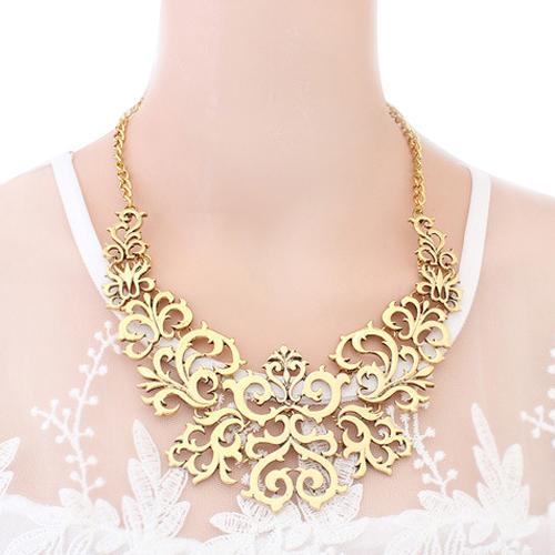 Excellent Fashion Women Hollow Bib Choker Statement Vintage Paper cut necklaces pendants 4YXZ(China (Mainland))