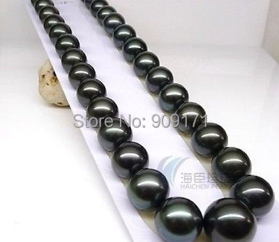 Free Shipping&gt;&gt;HOT REAL AAA+ 10-11 MM SOUTH SEA TAHITIAN BLACK PEARL NECKLACE 1814K <br>
