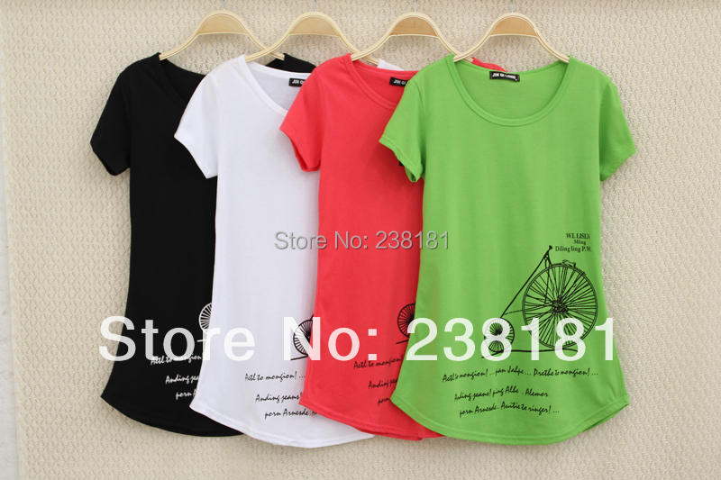 2015 summer style t shirt women tops short sleeve t-shirt o-neck cotton tshirt long tees cute cartoon print camisetas mujer - Sunflower Fashion store