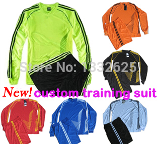 New!children long sleeve soccer jersey kits Kids 2015 student soccer training suit boys young men long sleeve tracksuits(China (Mainland))