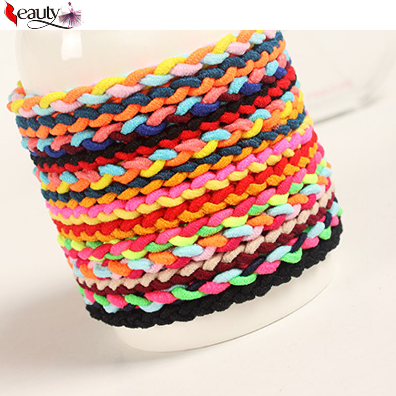 20pcs/lot High Quality Weaves Multicolor Ponytail Elastic Holders Hair Accessories Girls Women Rubber Band(China (Mainland))