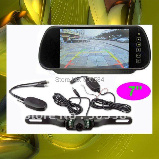 "2.4g Wireless Car Rearview mirror camera monitor kit 7"" LCD Car back camera Rear view reversing parking sensor IR night vision"