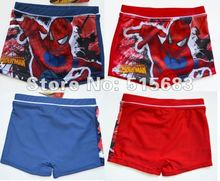 Retail 2016 1Pc New Boys' Red Blue Spider Man Swimsuit Trunks Swimming Costumes 4-10Y Swimwear Kids Surfing Bathers