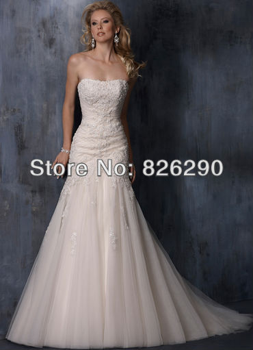 Ready sale tulle material strapless mermaid white/ivory appliques beaded formal wedding dresses - Color Fashion Life store