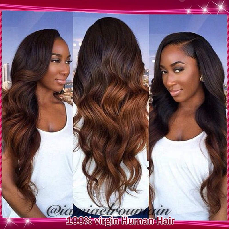 Brazilian Virgin #1b/4 Black To Brown Two Tone Ombre Human Hair Lace Front Wig With Baby Hair For Black Women