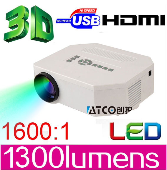 Big discount ATCO 1300lumens 1080P HD Home Theater 3D Cinema HDMI USB Video Game LED Mini Projector beamer lcd proektor