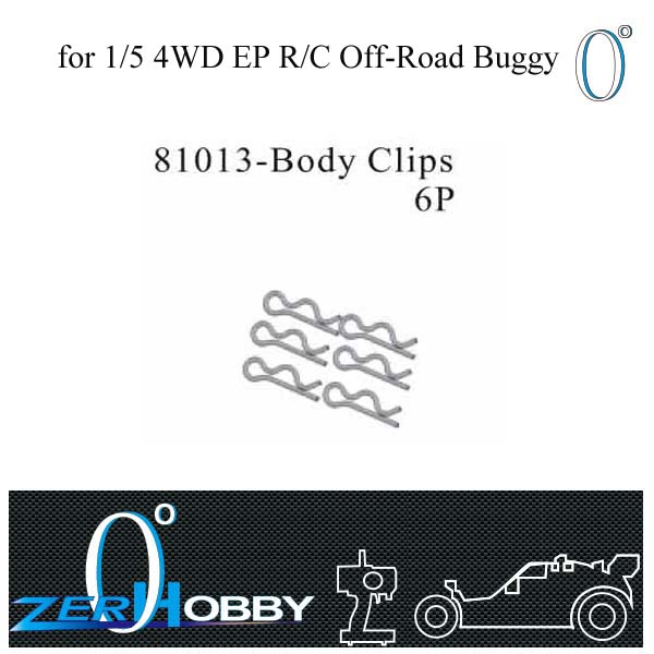 RC CAR SPARE PARTS BODY CLIPS 6PCS SET FOR HSP 1/5 EP OFF ROAD BUGGY 94059 (part no. 81013)