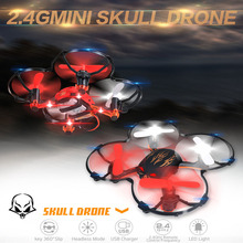 2016 Hot Sale 2.4G 4CH Headless Mini Drone RTF Nano Drone Mini Quadcopter Skull RC Drones VS Cheerson CX-10 CX-10A FQ777