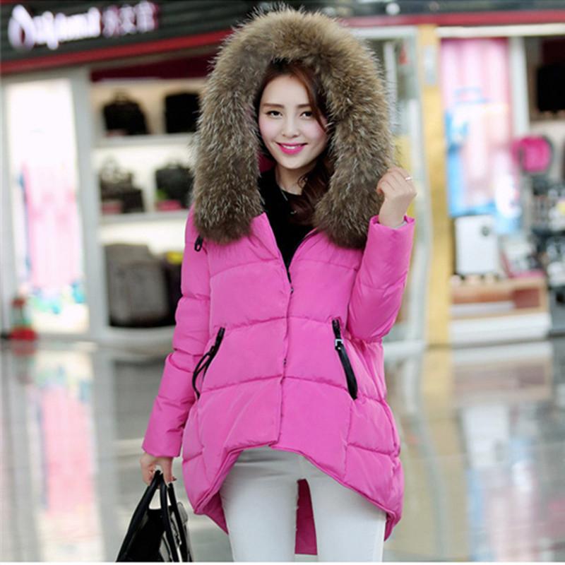 Winter Women Real Fur Collar Down Jacket Parkas 2015 Winter Plus Size Women Thick Long Hooded White Duck Down Jacket LJ3488