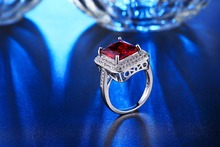 925 sterling silver Jewelry wedding rings For Women fashion Bijoux Ruby Red CZ Diamond ring Classic