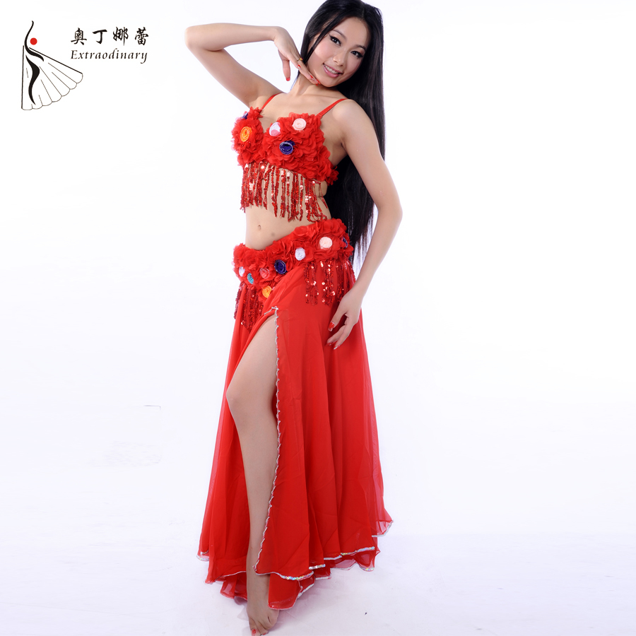 Dancewear Chiffon Hawaii Style Performance Belly Outfit for Ladies Belly Dance Costumes 3PCS More Colors # WJ00704+68186Одежда и ак�е��уары<br><br><br>Aliexpress