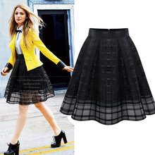 2016 New Summer Casual Women Skirt Black White Mesh Chiffon Knee Length High Waist Vintage Party Ball Gown Tutu Skirts Womens