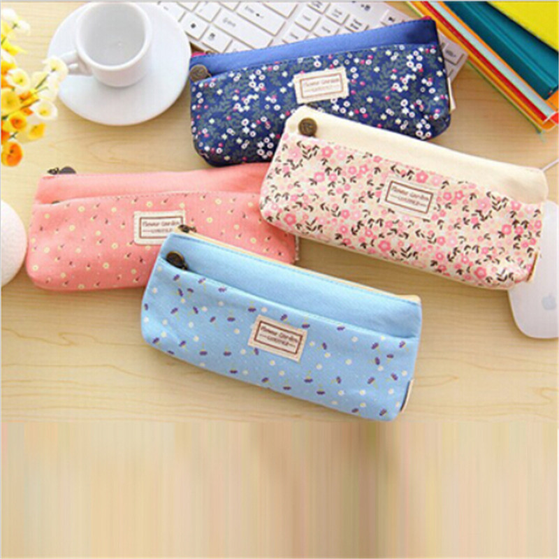 New Arrival school pencil bag pencil pouch double zipper portable cosmetic bags office stationery canvas pencil case CC2399(China (Mainland))