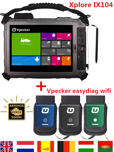 Free Shipping Good Car Diagnostic Tablet Xplore IX104 With I7 4GB 128GB Computer Plus Vpecker Easydiag IDIAG AutoDIAG WIFI Tool(China (Mainland))