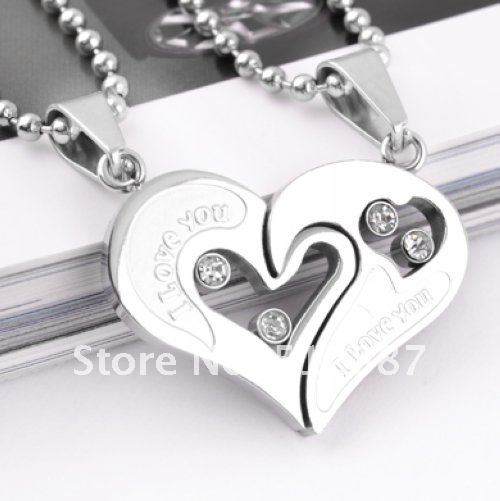 316L Stainless Steel Silver Love You Logo Heart Necklace Pendant Fashion Couple & Lovers'  Jewelry QL006