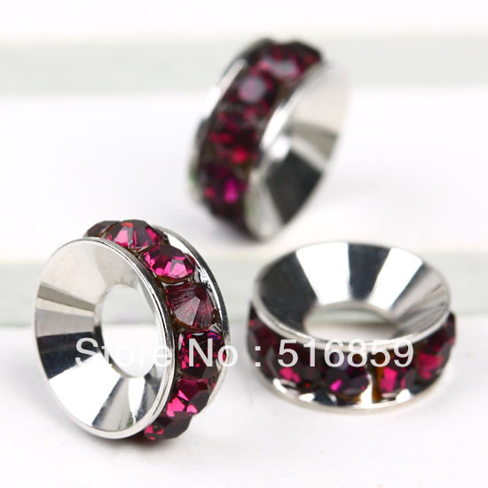 20PC Fashion Purple Rhinestone 10mm x 4mm Spacer Round Loose Charm Wheel Beads Fit European Bracelet - Only One Store store