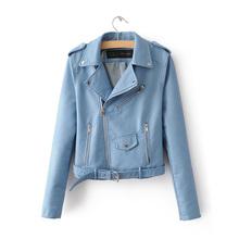 2016 New Autumn Women PU Leather Jackets Lady Slim Fit Motorcycle Zipper Black Coat Drop Shipping  Hot Sale(China (Mainland))
