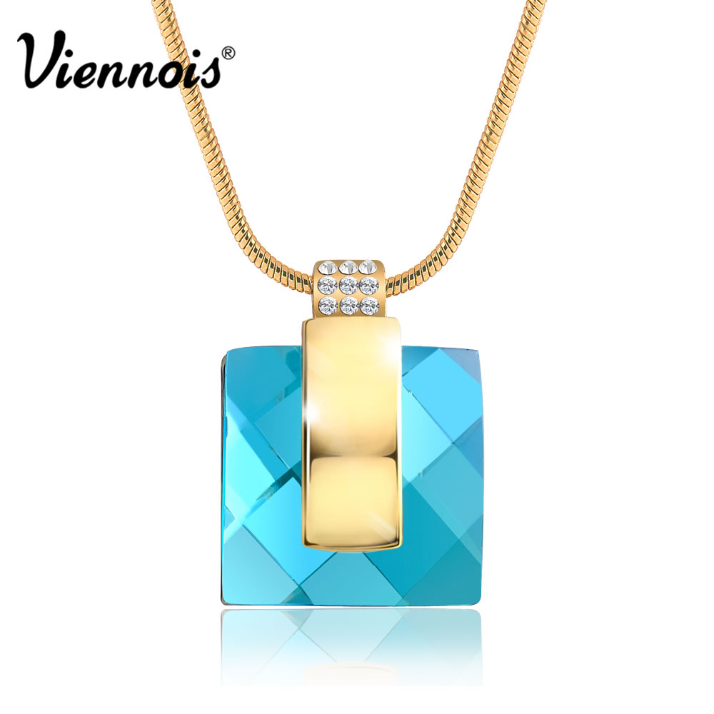 Viennois Fashion Gold Blue Soul Crystal Rhinestone Square Statement Necklace & Pendant Chain NEW Valentine's Gift(China (Mainland))