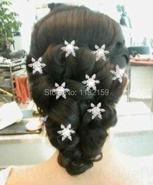 Han edition headdress twist ShanZuan snowflake flower bride hair hairpin Silver plated 8 pcs(China (Mainland))