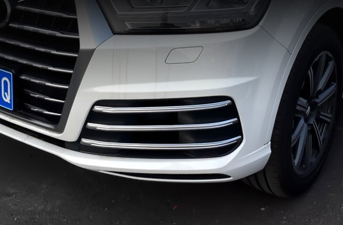 Chrome ABS strip Front fog lamp decorative frame auto exterior Front light trim sequins Car stying 3D stickers for Audi Q7 2016(China (Mainland))