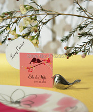 Love birds wedding place Card holder Brushed Silver placecard photo frame 20PCS/LOT(China (Mainland))