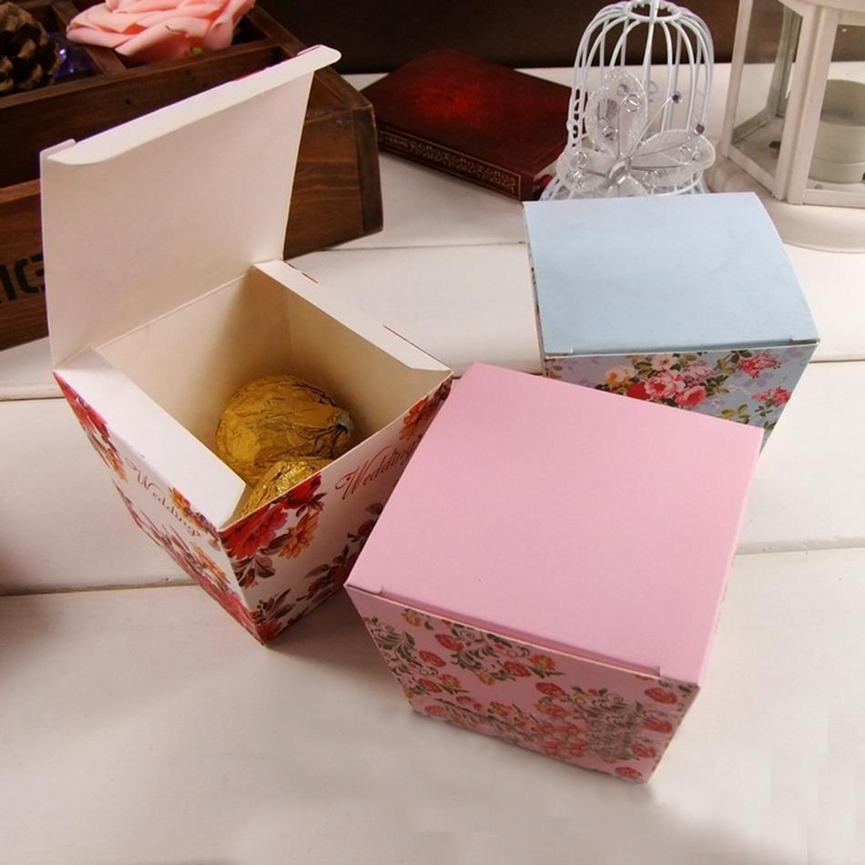 Diy cheap rose floral flower trapezoid wedding favor candy for Cheap wedding favor boxes