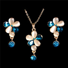 Free Shipping 18K Gold Filled Exquisite Pretty Flower Cat eye Necklace Earrings Jewelry Sets Wholesale(China (Mainland))