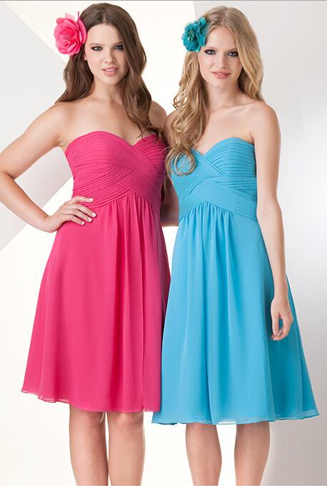 hot pink junior light blue short blush bridesmaid dress