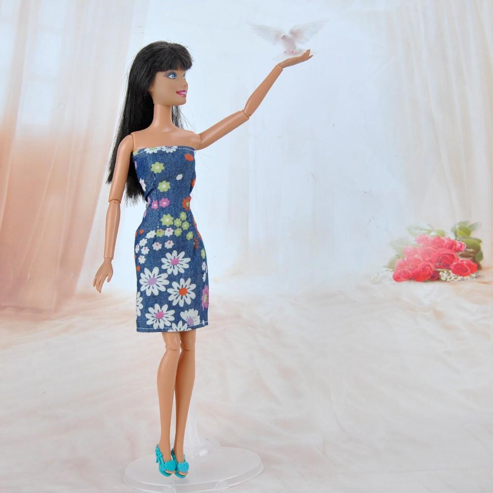 E-TING  Darkish blue denim coloured floral skirt Slim For Barbie Dolls Reward