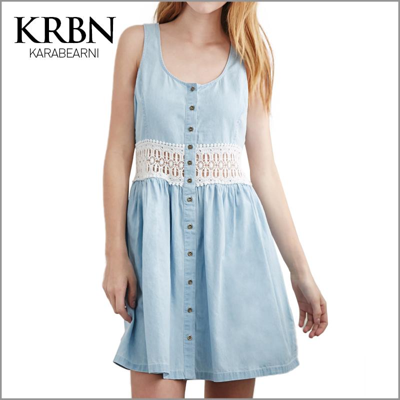 denim dress jeans Ladies Summer Dress 2015 Women Dress Casual brand patchwork beach sleeveless blue mini t shirt dress K15074(China (Mainland))